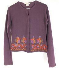 FREE PEOPLE PURPLE SWEATER SMALL Floral Embroidered Boho Hippie Womens S