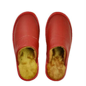 Genuine Leather House Slippers Men Women Winter Warm Flat Shoes Indoor Soft Fur