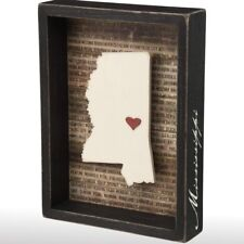 Wooden Mississippi State Inset Box Sign Shelf Frame Home Office Desk Wall Plaque
