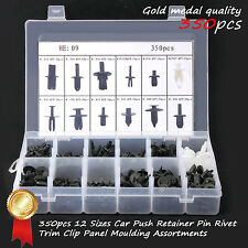 350Pcs Car Body Retainer Push Pin Rivet Fasteners Trim Moulding Clip Assortments