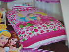 Disney Princess Double Bed Pink Flowers Printed Quilt Cover Set New