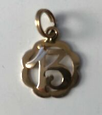 Vintage Italian 18K Gold Charm of a Stylized Number 13 in a Scalloped Ring >1 gm