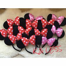 12pcs Minnie Mouse Ears Headband With Puffy Red and Pink Bow Mickey