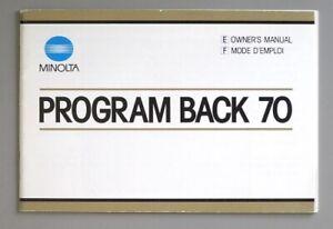 Minolta Program 70 Instruction Manual 1984 (English, French) Original