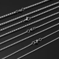 12pcs Wholesale Men Women Silver Stainless Steel Box Link Chain Necklace 16-30""