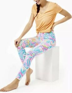 NWOT Lilly Pulitzer Weekender High Rise Midi Carnivale Coral Leggings Size S