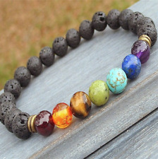 UK Beautiful Lava Stone Chakra 7 Crystal Gemstone Bead Bracelet. Reiki Yoga