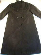 Vintage Loring Forstmann 100% Wool Coat Knee High Solid Black Double Button USA