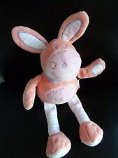 E7 - DOUDOU PELUCHE ANE CHEVAL ROSE ORANGE TEX BABY FOULATD MAUVE 34 cms NEUF *