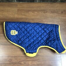 Martha Stewart Pets Blue Quilted Yellow Fleece Barncoat Dogs Puppy Coat Cover XL