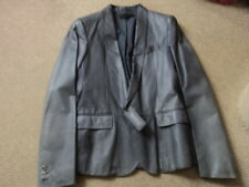 Alexander McQueen Mens One Button Grey Leather Blazer New with Defects RRP £1750