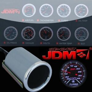 "Jdm Sport Universal 2"" 52Mm Turbo Boost Meter White Led Smoke Tint Lens Gauge"