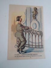 Delightful Vintage Postcard Belgian Peeing Boy-Fountain Soldier Humour  §A2