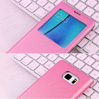 Window Case Black or Pink Samsung Galaxy Note 8, S8+ S8 Faux Leather Flip