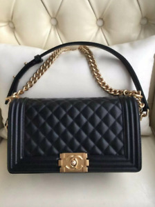 Authentic Chanel Boy Classic Bag For Women Leather Black Bag