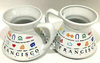 Retro 1987 Luke A Tuke San Francisco Graphic Coffee Tea Cups Mugs Set Wide Base