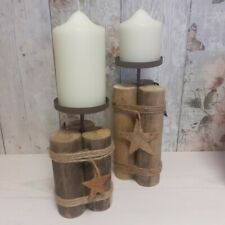 Rustic Wooden Pillar Candle Holder with Star Decoration - Christmas Decor