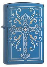 Zippo 29608, Elegant Cross, Sapphire Blue Finish Lighter, Full Size
