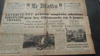JOURNAL LE MATIN JEUDI 15 AOUT 1940 N°20.595 ABE