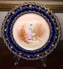 Haviland Limoges Handpainted Cabinet Cobalt Gold Portrait Plate