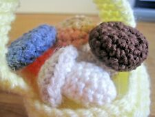 HAND KNITTED / CROCHETED MAGICAL 3cm MUSHROOMS IN BASKET. 5 PC. SET.