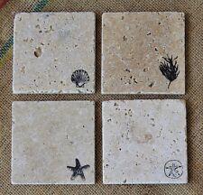 Beach Travertine Coasters, Stamped Stone Coasters, Shell, Starfish, Sand Dollar