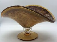 "5 1/2"" H Lovely Hand Blown Gold  Murano Art Glass Compote Fruit Bowl Candy Dish"