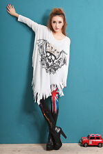 ❤Bohemian Glitter Skull Shirt Top❤Japan Korean Fashion Funky Blouse Soho S M L