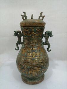 11.2'' China Antique Bronze Teapot ancient Brass Teapot Kettle drinking vessel