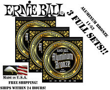 ** 3 SETS! ERNIE BALL ACOUSTIC ALUMINUM BRONZE GUITAR STRINGS 2568 (11-52) **
