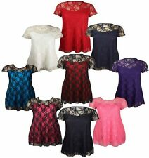 NEW WOMENS PLUS SIZE FLORAL LACE OVER LINED TUNIC TOPS EVENING PARTY TOPS 14-28