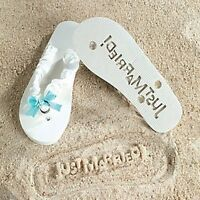 Just Married White Flip Flops - Stamp Your Message in the Sand and Beach! (9/10)