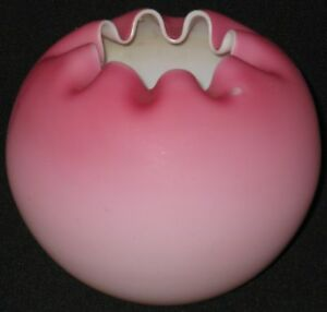 ANTIQUE PINK SATIN OVERLAY ART GLASS ROSE BOWL AMERICA