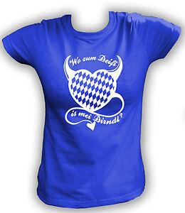 Damen T-Shirt XS-2XL Wo zum Deifi is mei Dirndl? Oktoberfest Shirt Wiesn
