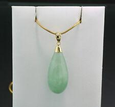 Colgante Verde Jade Redondo Forma de Gota 585-gelbgold Nuevo (40966)
