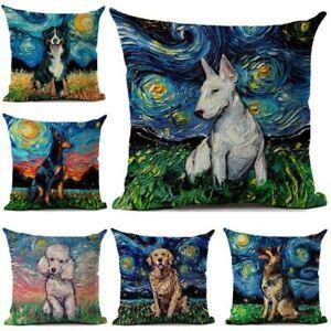 Cushion Cover Bulldog Doberman Greyhound Dog Car Sofa Decorative Throw Pillows
