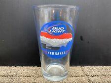 """Libbey Budweiser Bud Light Nebraska Red White Blue Clear Glass Tumbler 5 3/4"""""""