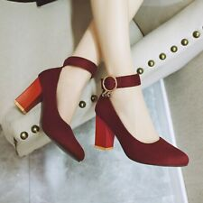 Lady Wedding Ankle Strap High Block Heels Women Mary Jane Pointed Toe Shoe Party