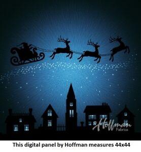Santa & Reindeer Christmas Digital Panel cotton quilt fabric Hoffman BTP 44x48