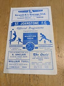 1960/61 ST JOHNSTONE HAMILTON ACCADEMICALS FOOTBALL PROGRAMME LEAGUE CUP SCOT