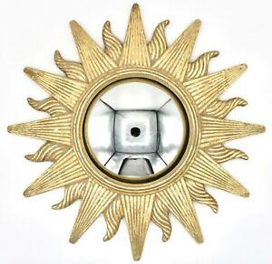 Mid Century Modern Gold Gilded Convex Sunburst Mirror