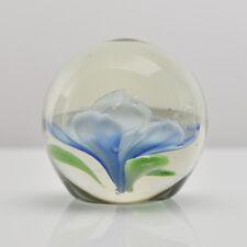 Mid Century Modern Studio Art Glass Paperweight Blue Flower Murano