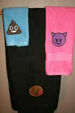 Emojis Personalized 3 Piece Bath Towel Set Any Color Choice