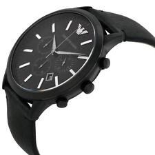 EMPORIO ARMANI CRONOGRAFO AR2461 cinturino in pelle quadrante nero, COA, prezzo consigliato £ 329.