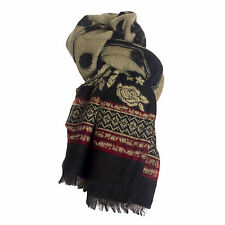 Ladies Large Wool Black & Red & Beige Rose & Aztec Soft Shawl Scarf Wrap Stole