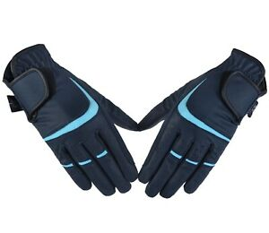 Horse Riding Equestrian Gloves Synthetic Leather Ladies breathable Gloves Blue