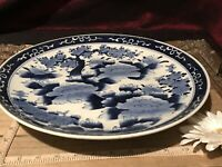 Antique Vintage Asian Porcelain Blue & White Floral Wall Plate Marked 13 1/4""