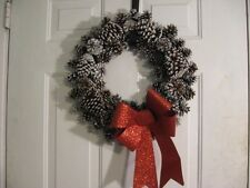 """Large 19"""" Frosted Pine Cone Vine Twig Wreath Floral Decor Winter Christmas Bow"""