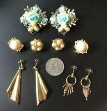 Vintage earrings lot clip on pierced gold pearl blue floral large stud dangle