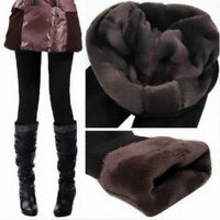 Women Autumn Winter Warm Lined Thermal Footless Leggings Fleece Render Pant
